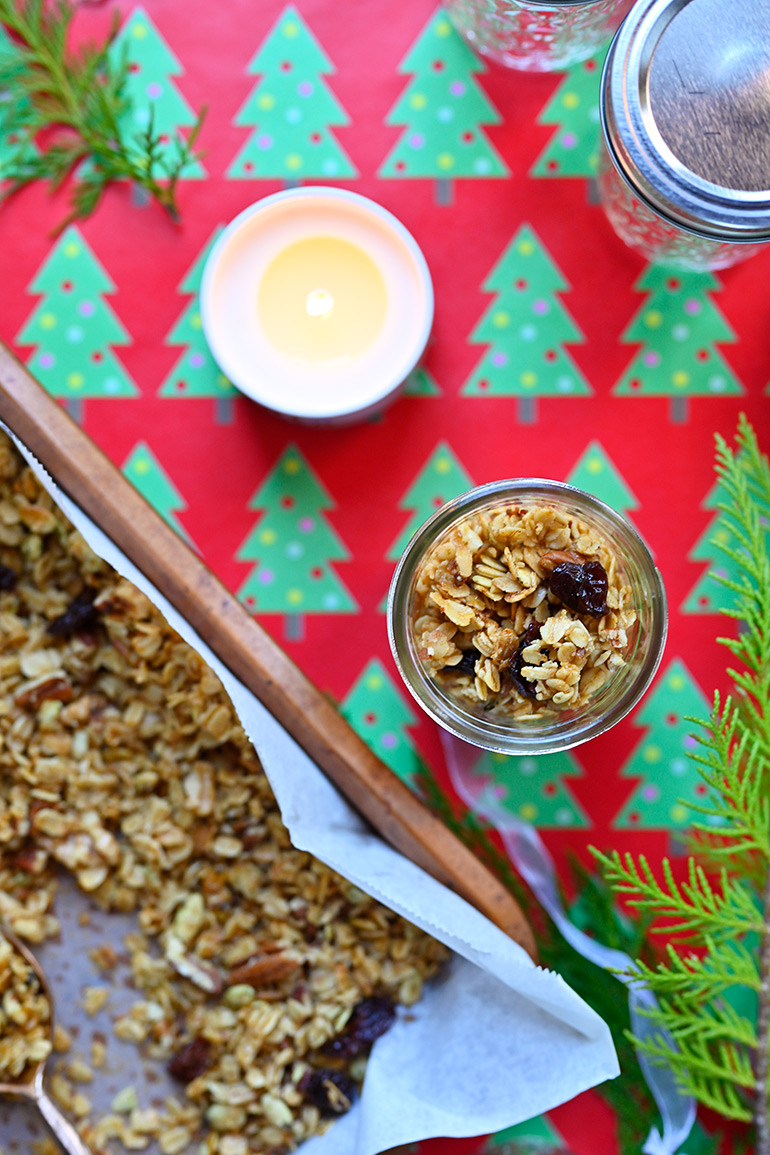 close-up of homemade bourbon maple granola