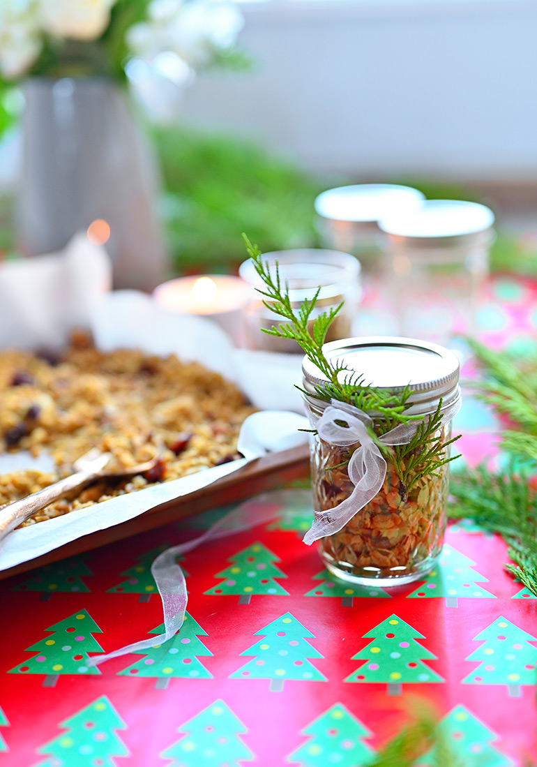 safeway homemade granola jars with debi lilly greenery
