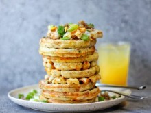 Mini Savory Waffles with Crumbled Sausage, Cheese, & Scallions