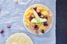 Breakfast Tacos with Apple and Sweet Potato Hash
