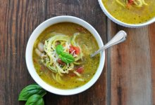 Chicken Pesto Zoodle Soup