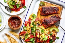 Grilled Chili Lime Salmon with Corn and Avocado Salad
