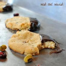 Paleo Shortbread Cookies Dipped in Chocolate Cranberry Ganache