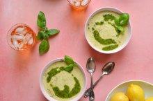 Creamy Lemon Potato Bisque with Carrot Top Pesto