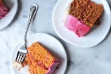 Dragonfruit and Strawberry Cake with Ombre Frosting
