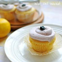 Lemon Cupcakes w/Blueberry Buttercream Frosting
