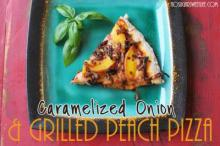 {Caramelized Onion & Grilled Peach Pizza}
