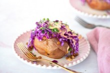 Loaded Sweet Potatoes with BBQ Lentils and Spicy Slaw
