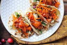 Roasted Turkey Tacos with Cranberry Chipotle Salsa