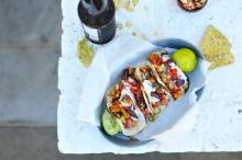 Butternut Chickpea Greek Tacos
