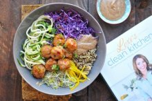 Thai Meatball Zoodle Bowl with Almond Butter Sauce