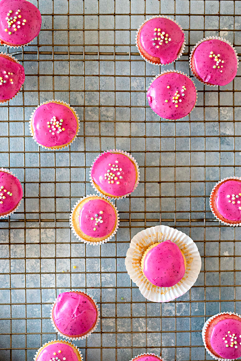 vegan pink donut muffins with frosting
