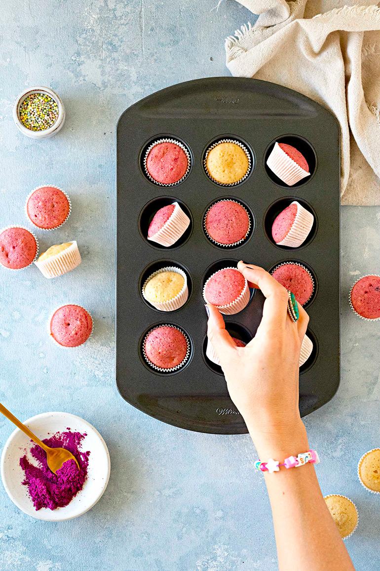 vegan mini donut muffins in pan