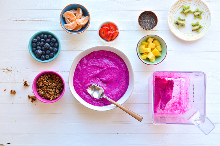 rainbow smoothie bowl blended with blendtec
