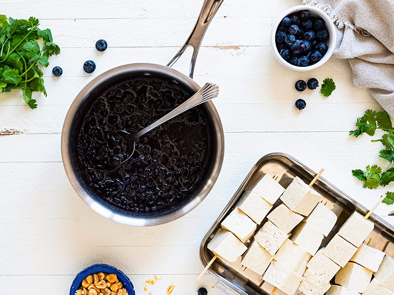 Blueberry chutney with tofu kebabs