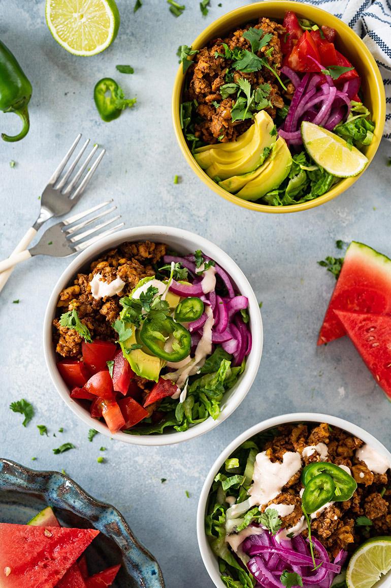 vegan taco salad bowls with tempeh