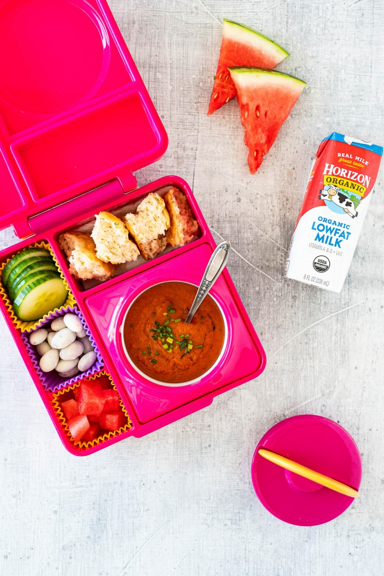 omiebox with tomato soup and horizon milk