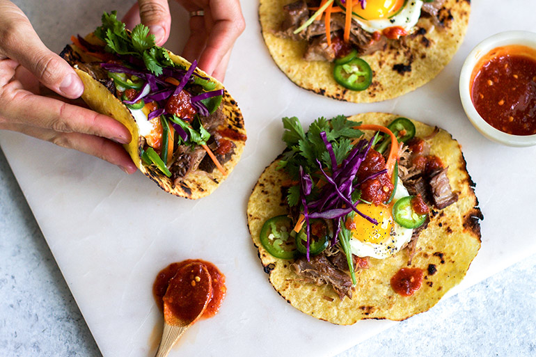 pork bahn mi breakfast tacos with red cabbage