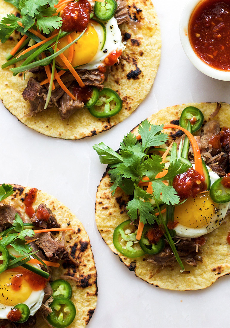 pork bahn mi breakfast tacos