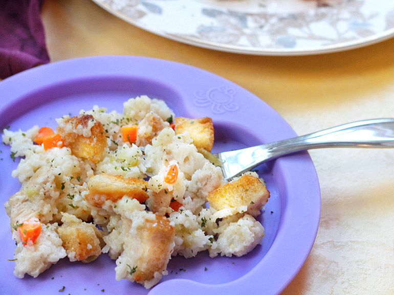 chicken and rice bake on plate