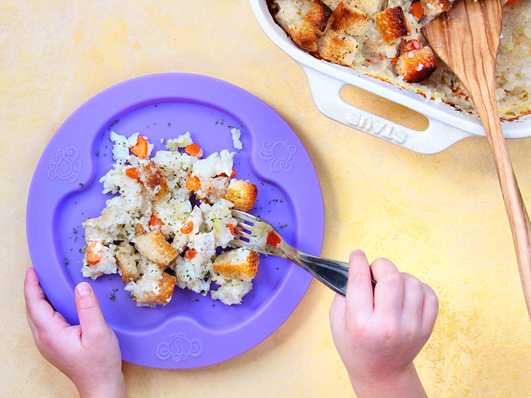 chicken and rice bake kid plate