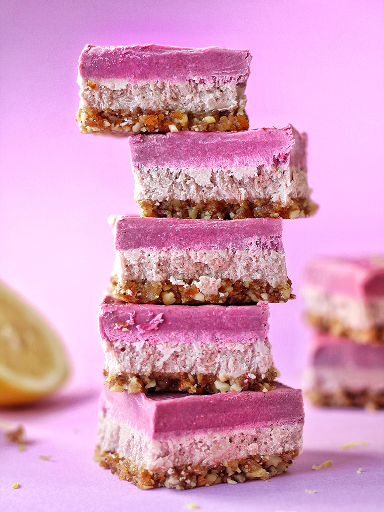 lemon berry vegan cheesecake bars
