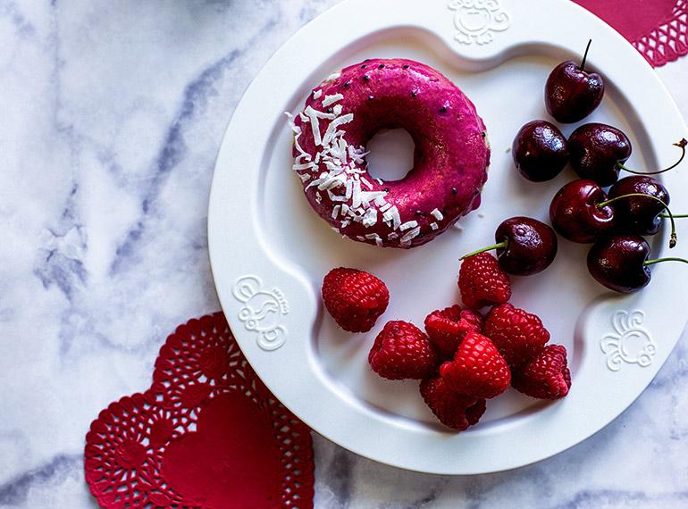 dragonfruit coconut donuts breakfast plate