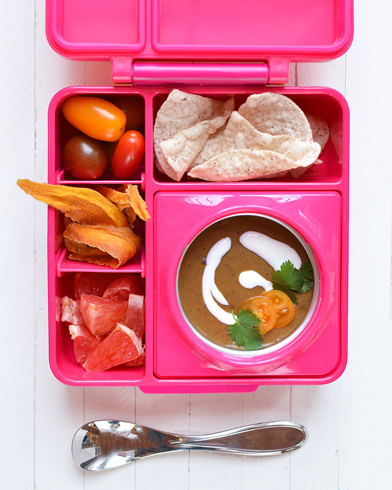 black bean soup in lunchbox