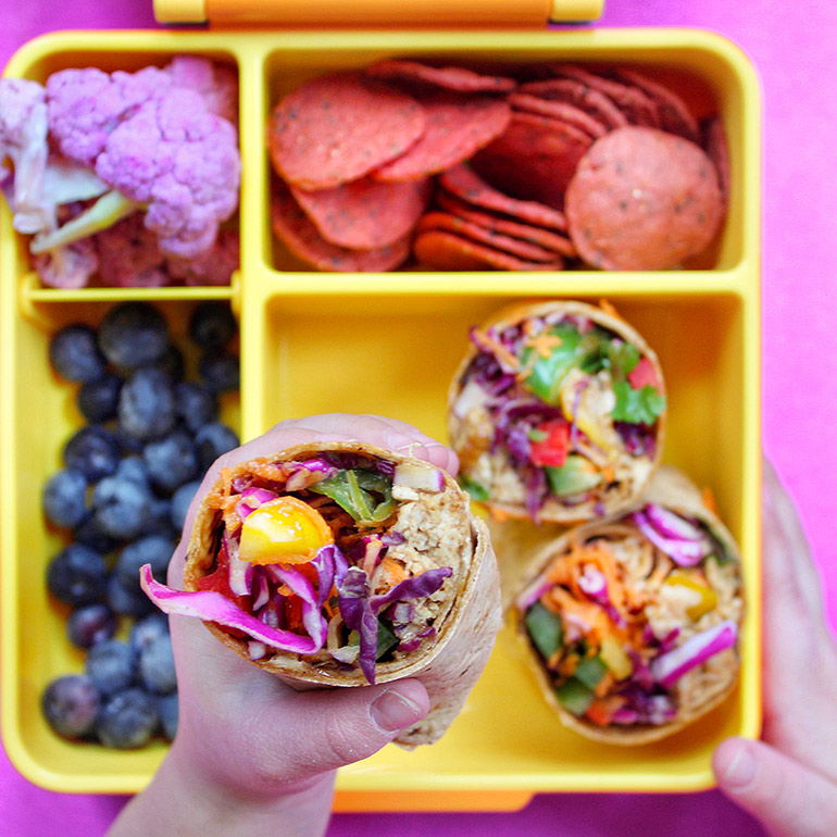 flatout rainbow pad thai wrap in lunchbox