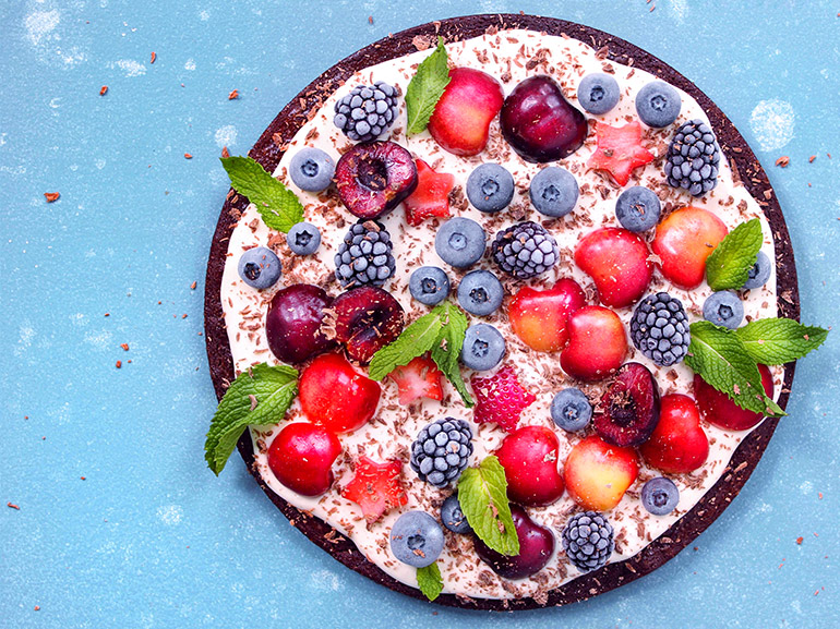 full cherry berry brownie pizza with mint