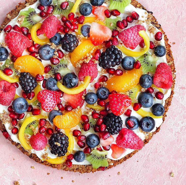 rainbow fruit pizza with coconut cream frosting