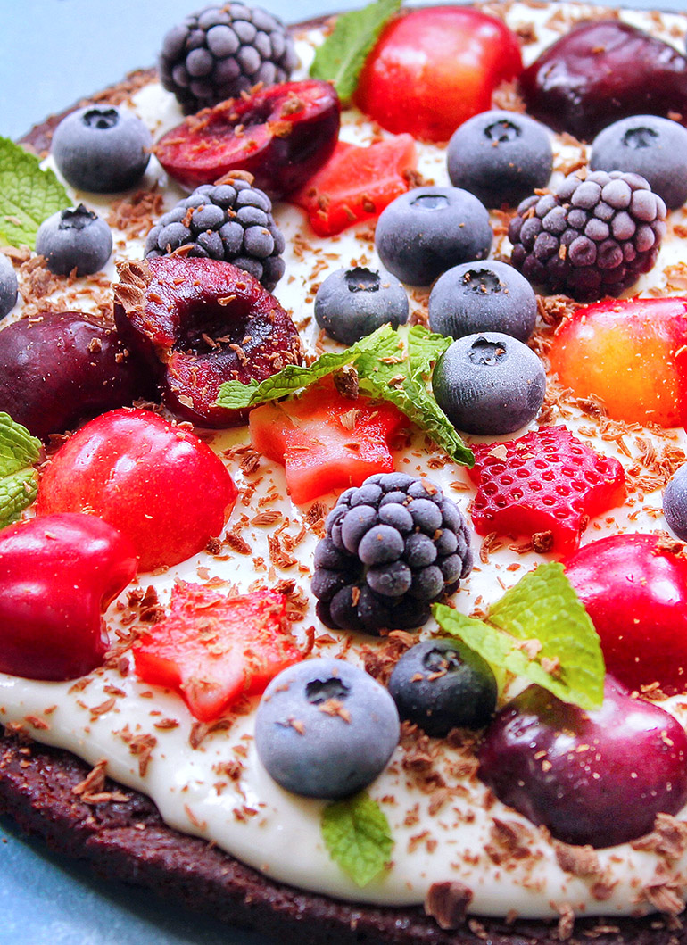 closeup of cherry berry brownie pizza