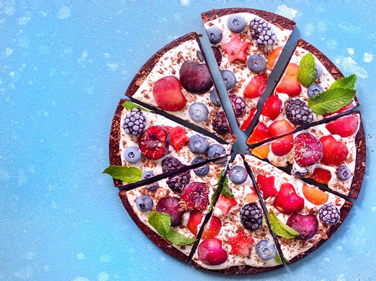 cherry berry brownie pizza sliced