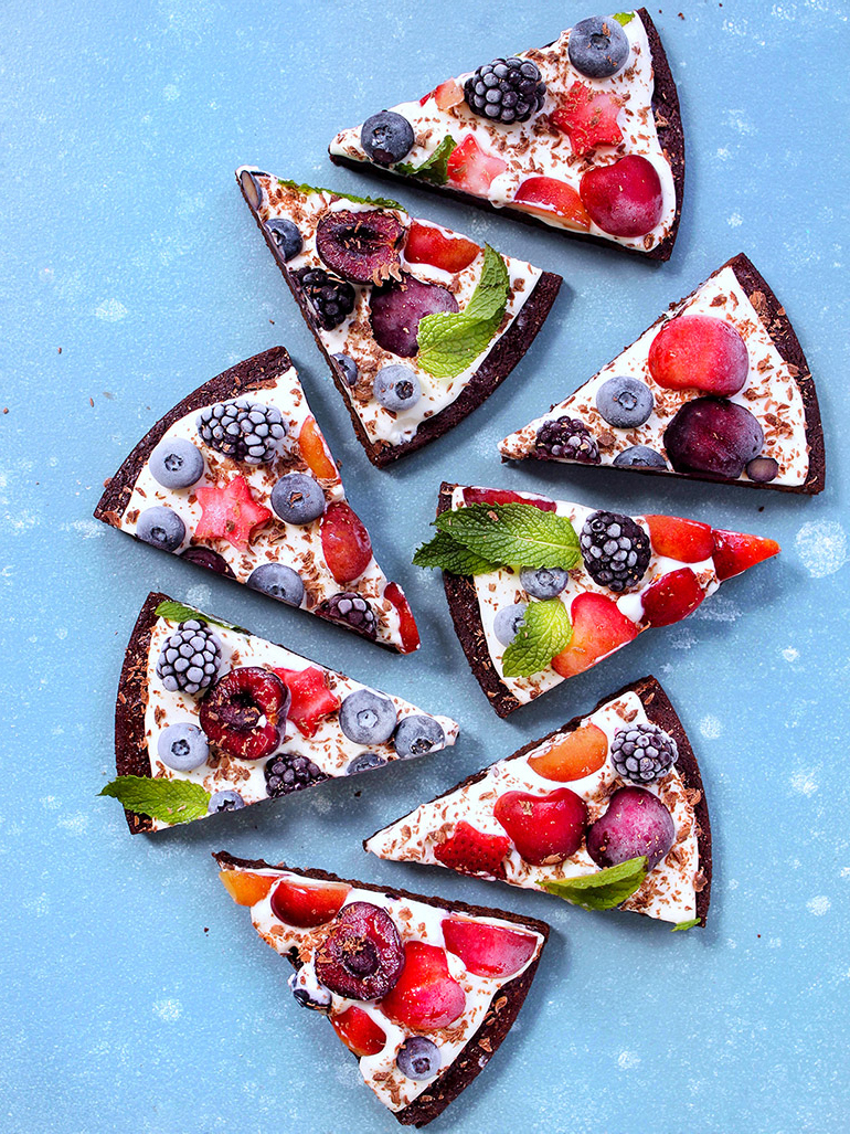 slices of cherry berry brownie pizza