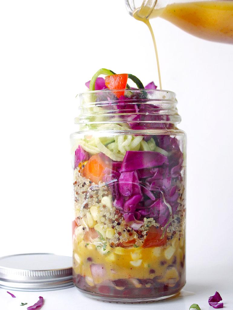 southwest zoodle mason jar salad