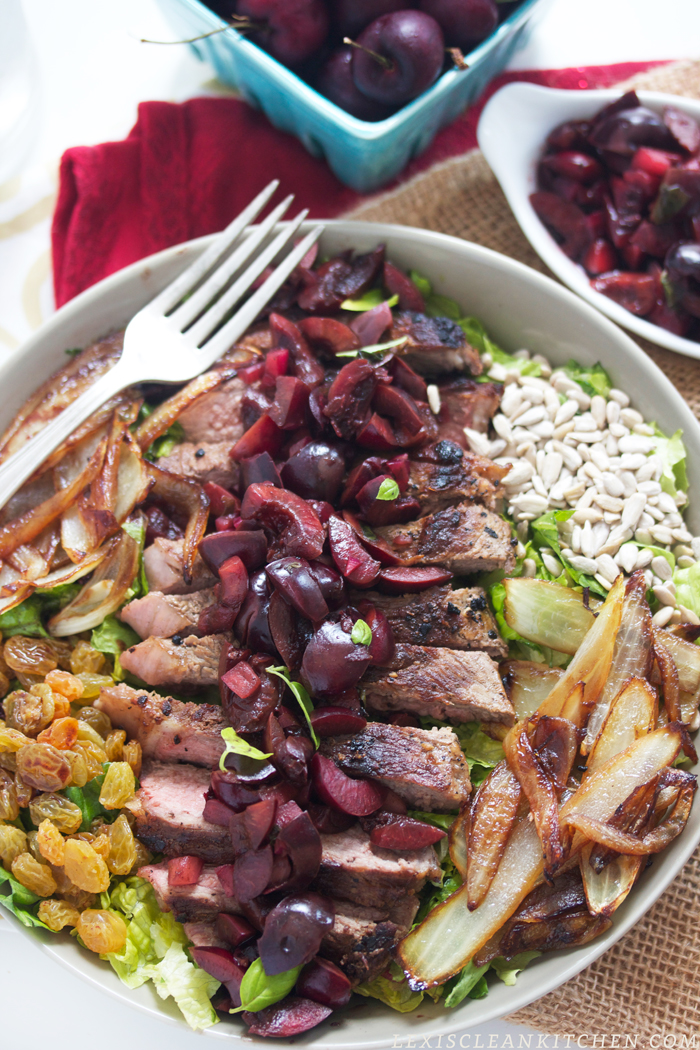 steak salad with cherry salsa