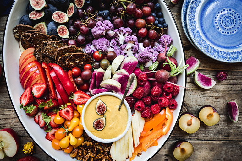 fall snack platter with pumpkin cheesecake dip