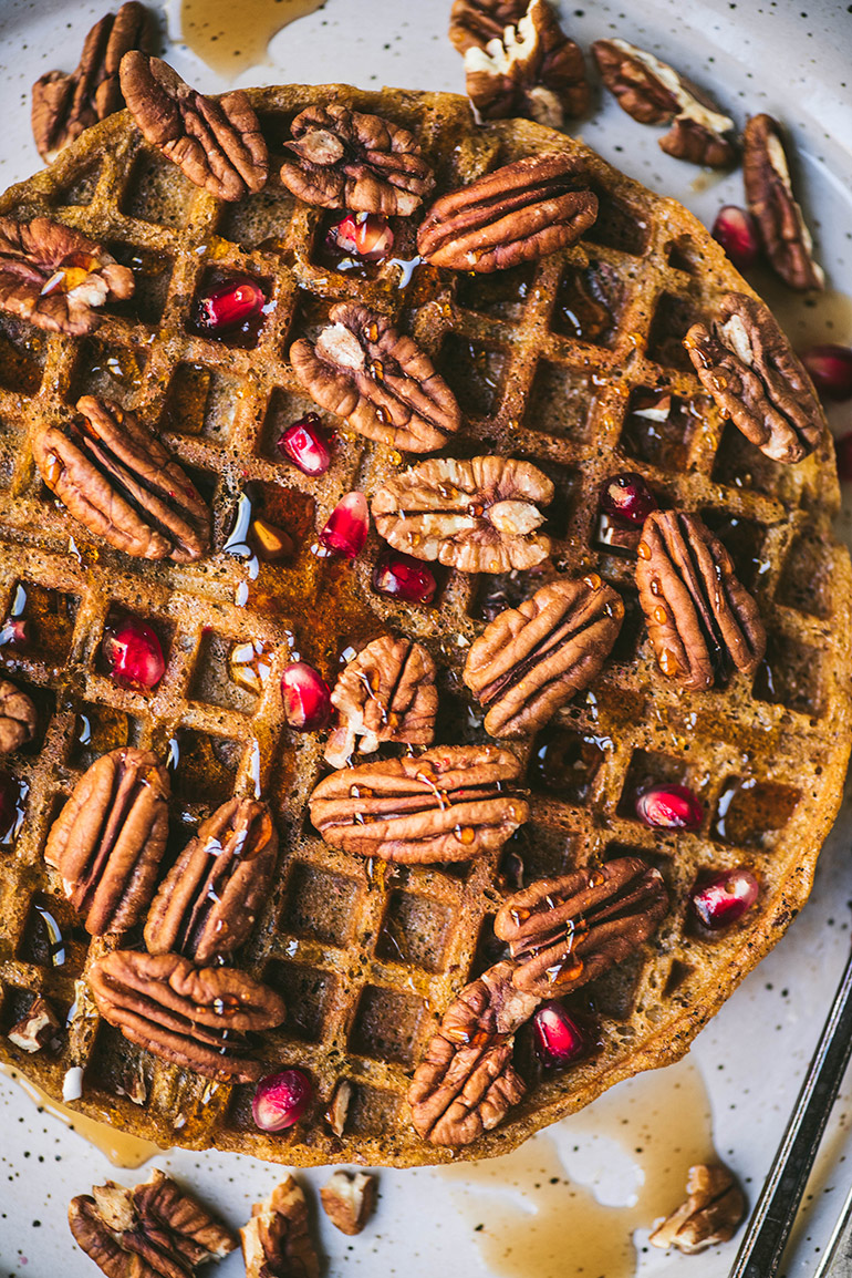 pumpkin pecan waffles with pomegranate arils