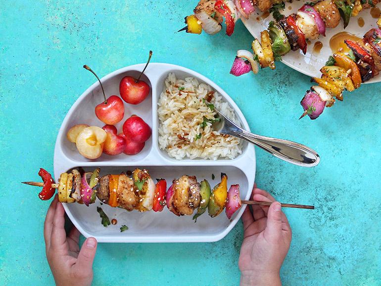 rainbow chicken skewers kid plate