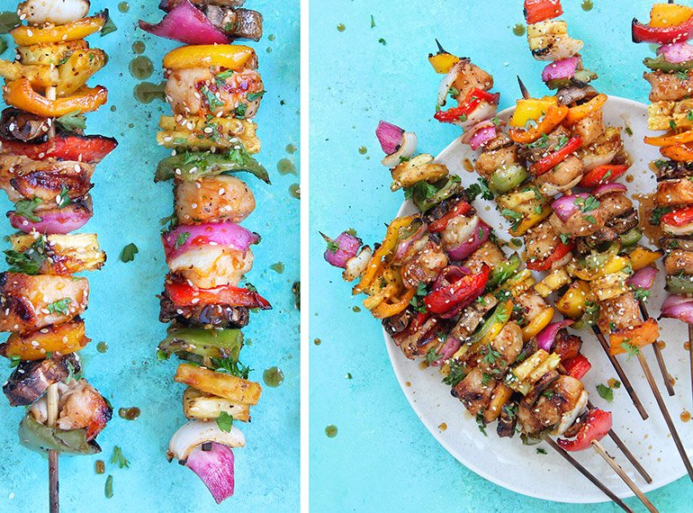 rainbow chicken skewers