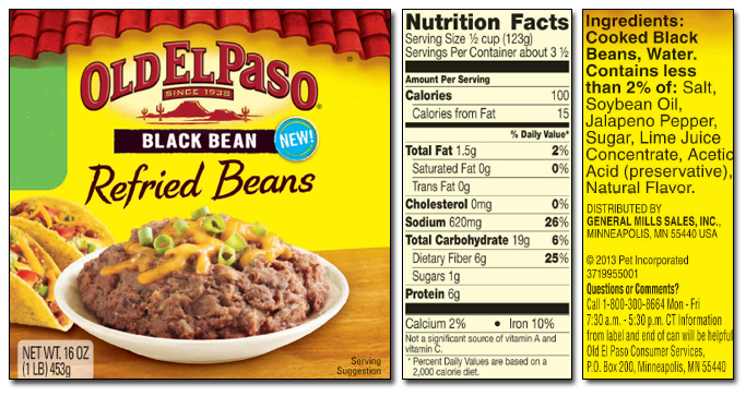 old el paso black bean refried beans label