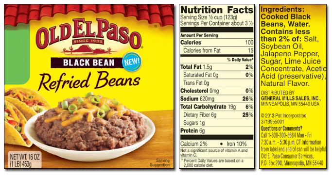 old el paso black bean refried beans label