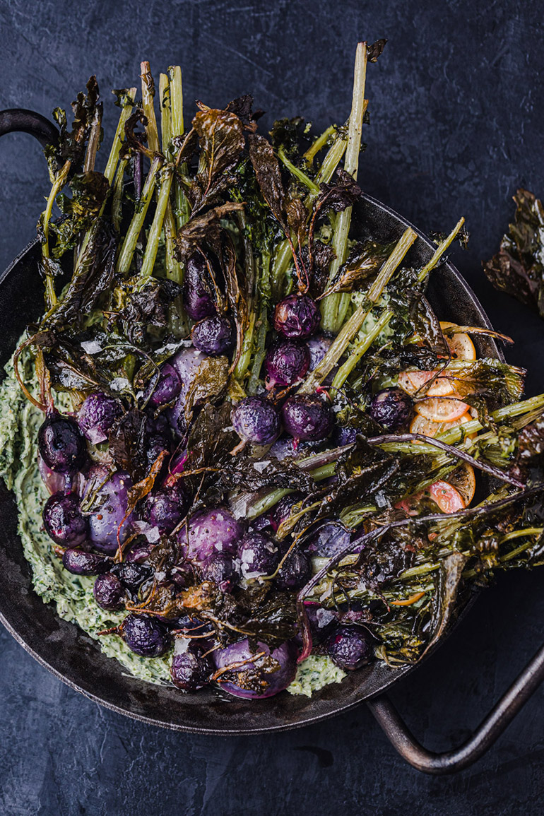 roasted radishes in serving pan