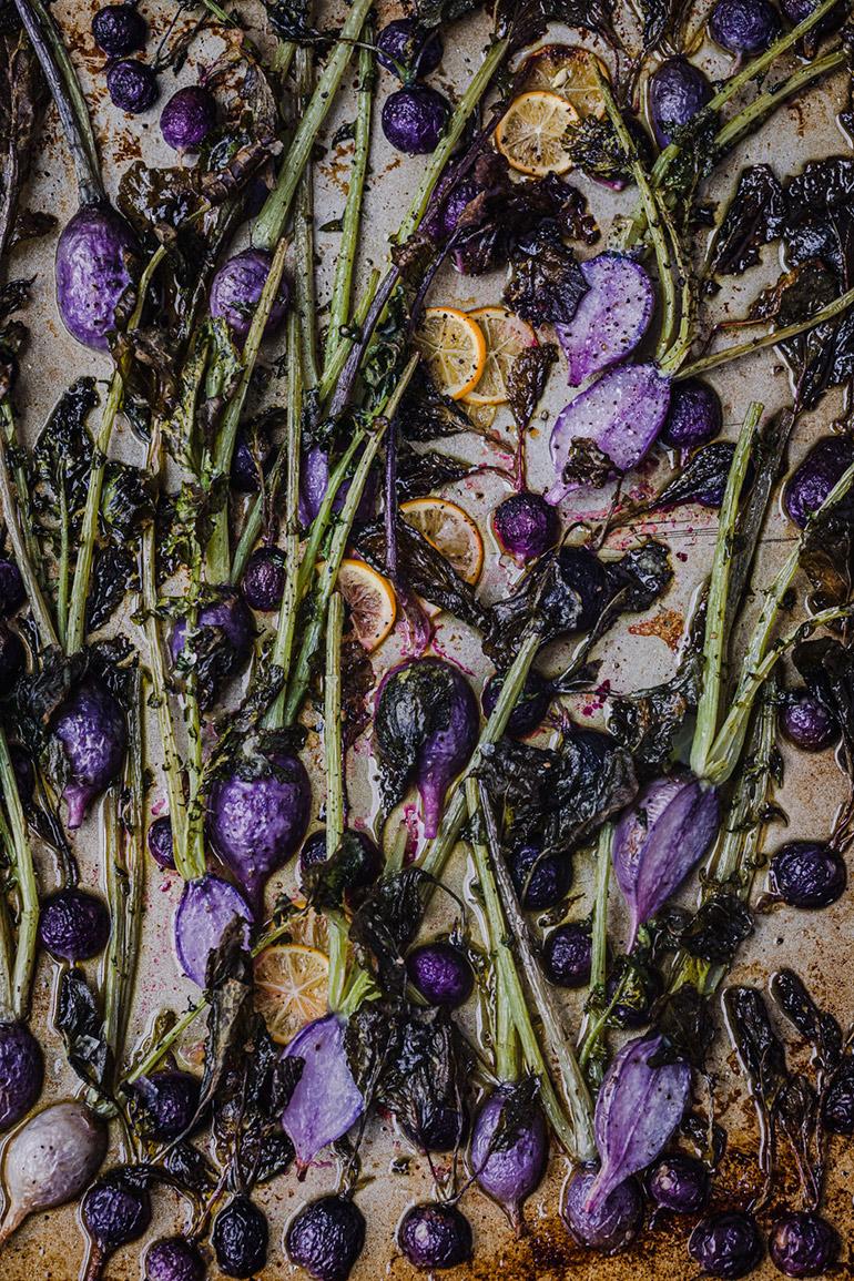 roasted purple radishes