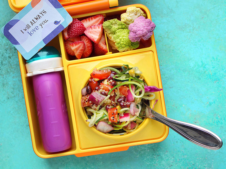 southwest zoodle salad in lunchbox