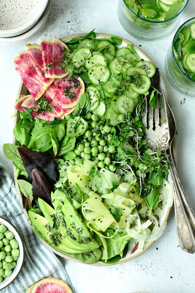 spring greens salad with tarragon dressing