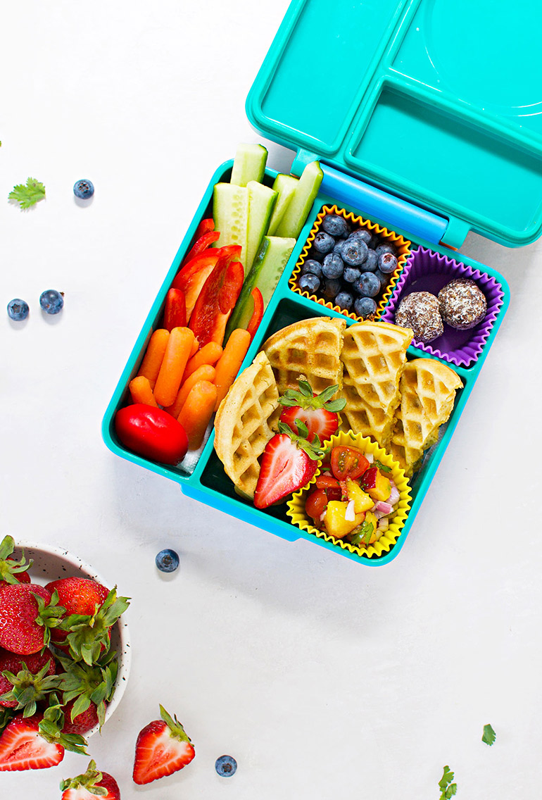 sweet corn waffles in rainbow lunchbox