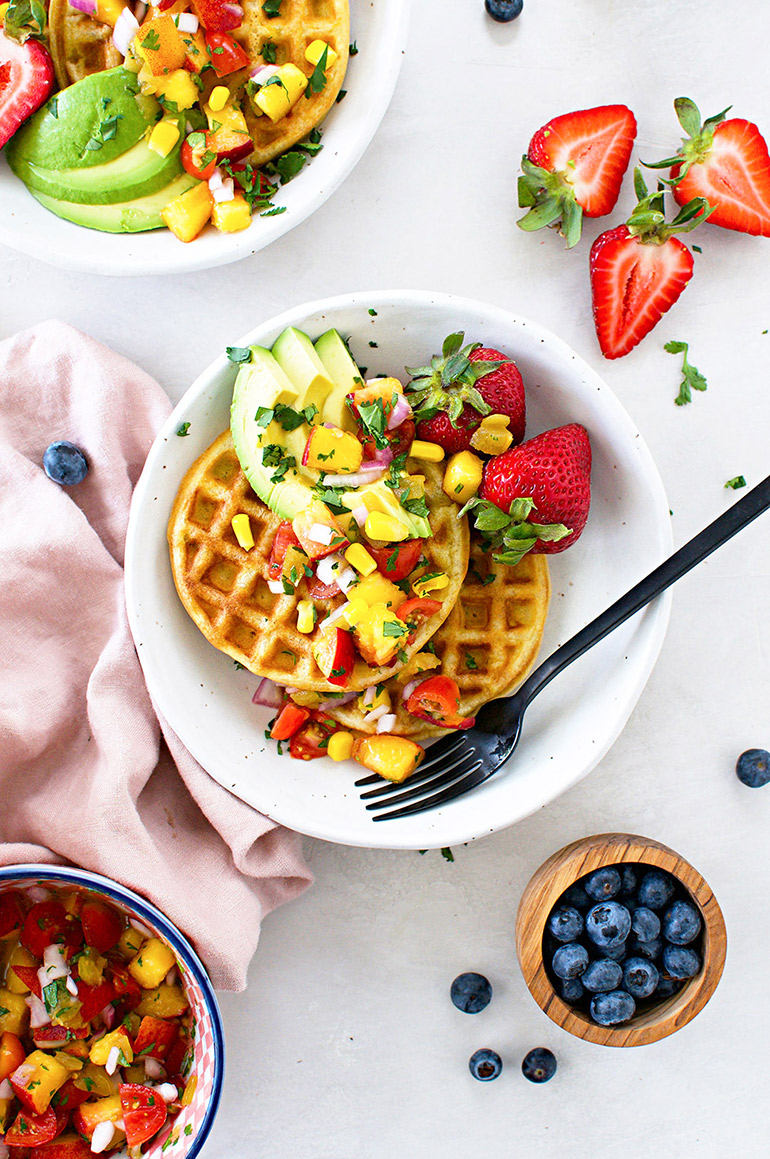 sweet corn waffles with peach pico