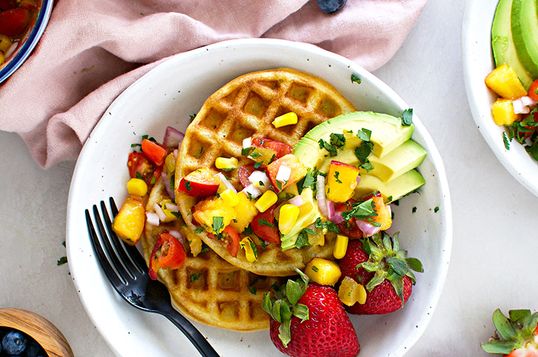 corn waffles with peach pico closeup