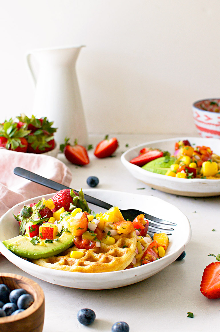 corn waffles with peach pico